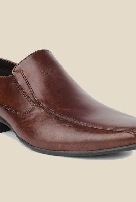 Red Tape Brown Slip-on Formal Shoes