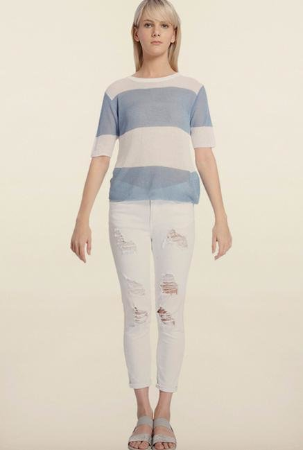 Vero Moda White & Blue Striped Top