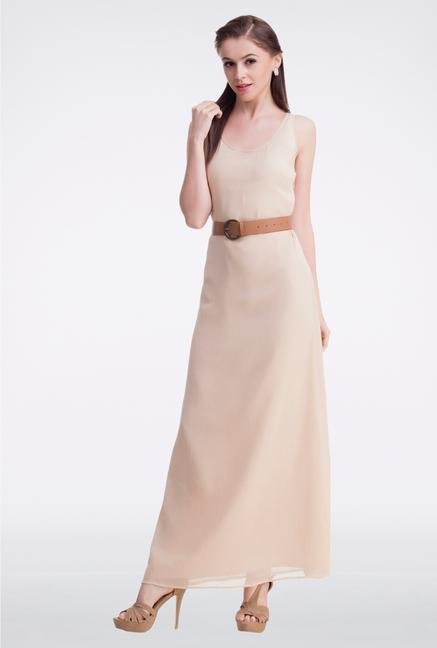 Femella Beige Belted Maxi Dress