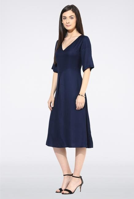 Femella Navy V Neck Midi Dress