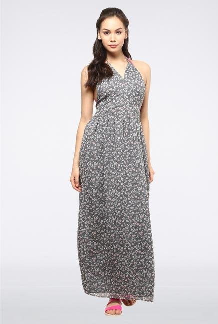 Femella Grey Backless Printed Maxi Dress