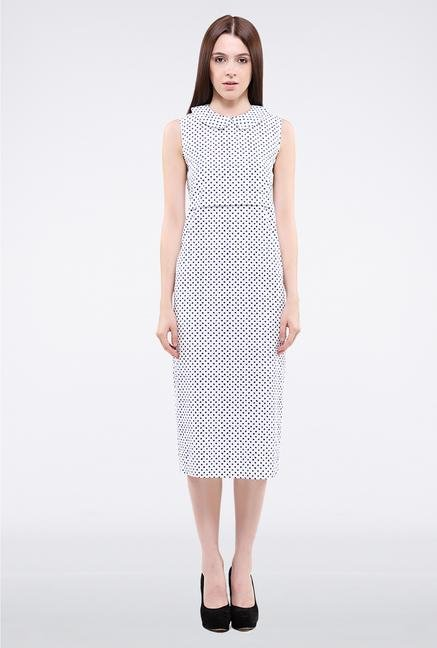 Femella White & Black Polka Dot Midi Dress