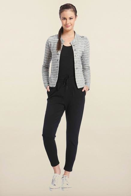 Only Grey Striped Casual Jacket