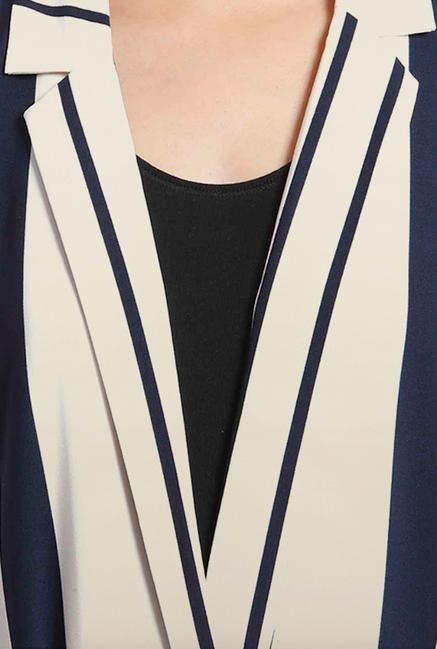 Only White & Blue Striped Long Coat