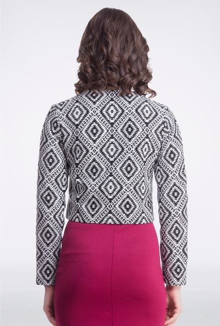 Femella Black & White Jacquard Jacket