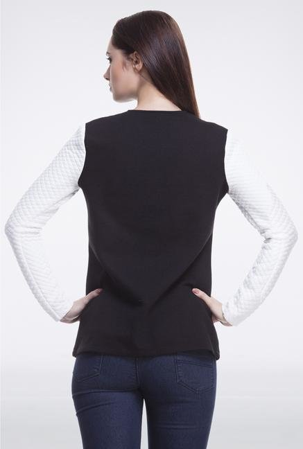 Femella Black & White Jacket With Quilted Sleeves