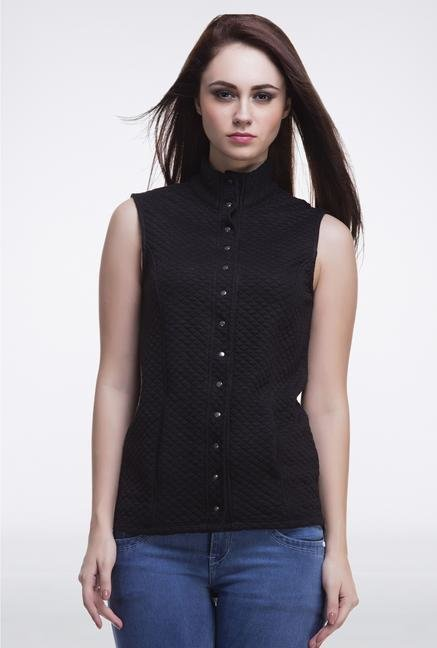 Femella Black Sleeveless Quilted Jacket