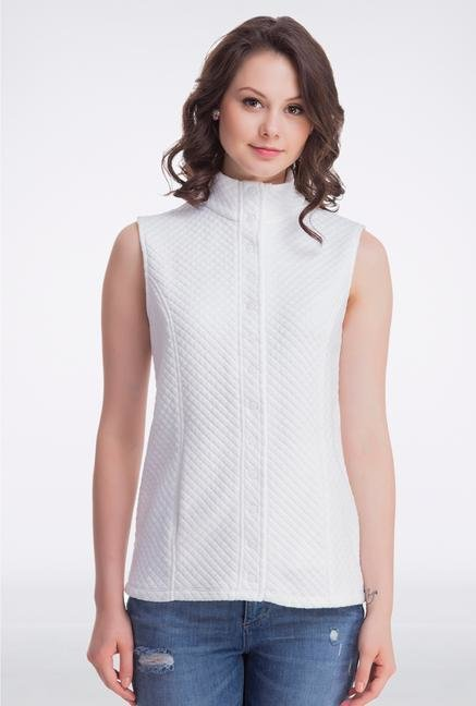 Femella White Sleeveless Quilted Jacket