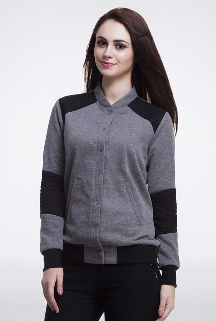 Femella Grey Bomber Jacket With Quilt Detail