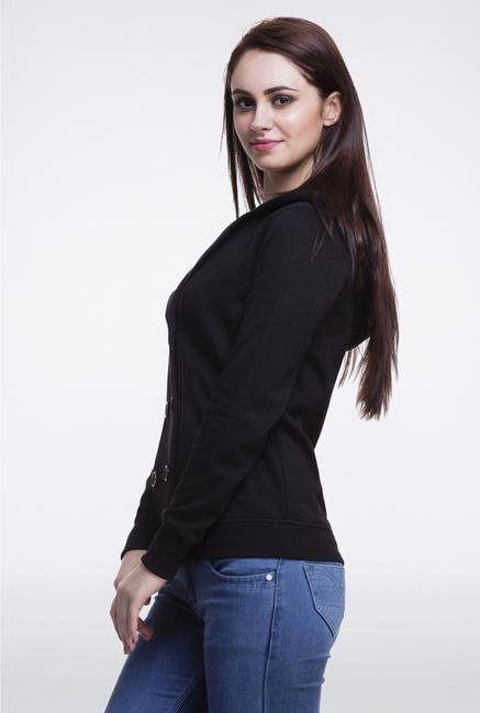 Femella Black Jacket With Fur Hood