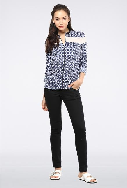 Femella Blue Printed Summer Jacket