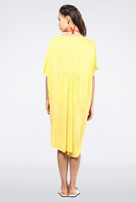 Femella Yellow Boat Neck Jersey Cover Up