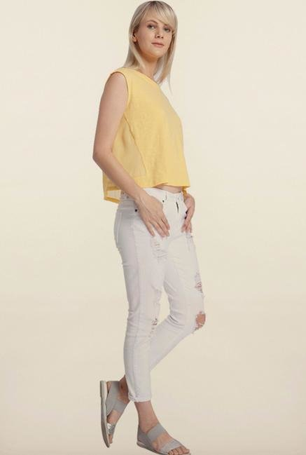 Vero Moda Yellow Solid Crop Top