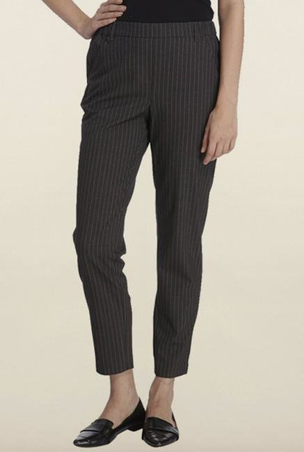 Vero Moda Grey Pinstripes Casual Trouser