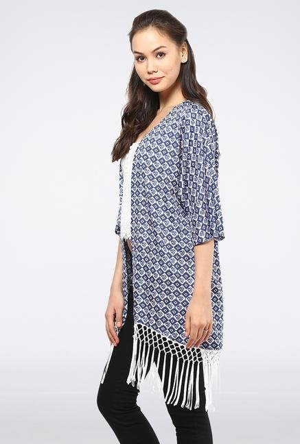 Femella Blue Printed Kimono Cape With Fringes