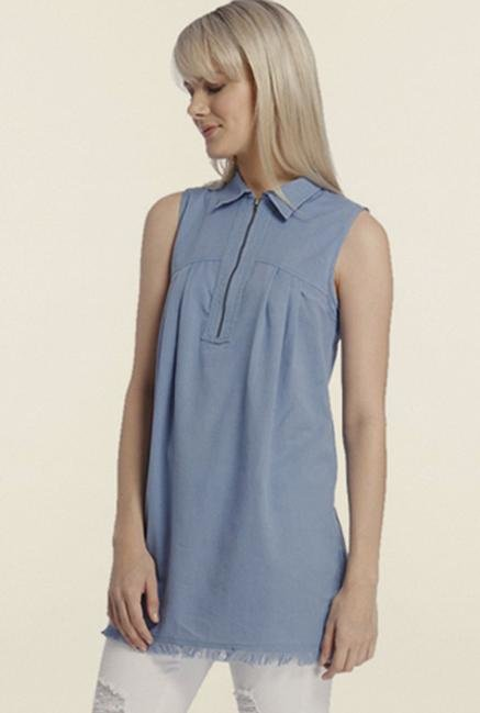 Vero Moda Blue Solid Top
