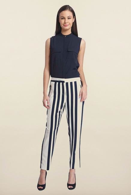 Only White & Blue Stripes Casual Trouser