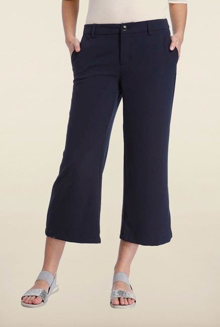 Only Navy Solid Casual Trouser