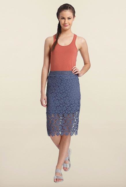 Only Indigo Blue Knee Length Skirt