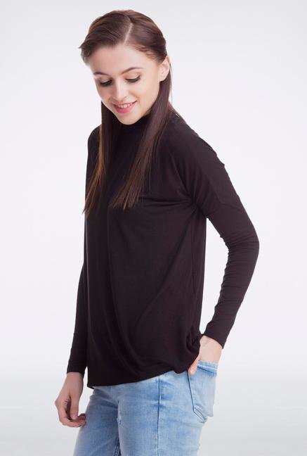 Femella Black High Neck Pullover