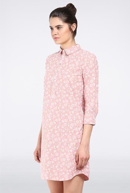 Femella Peach Printed Shirt Dress