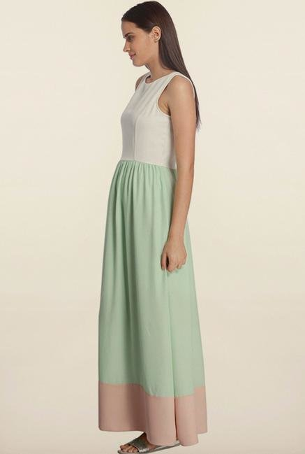 Vero Moda Mint Green & White Maxi Dress