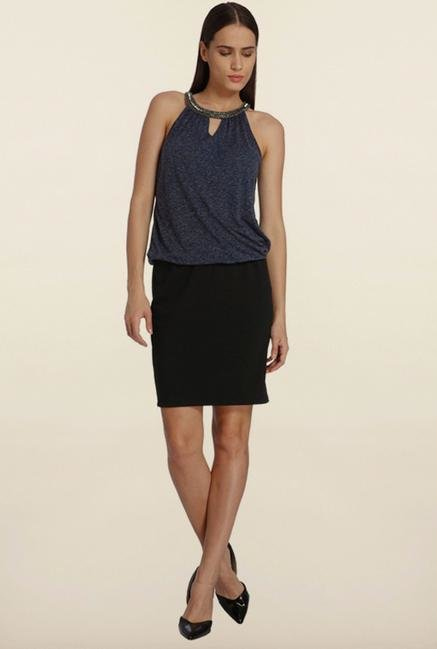 Vero Moda Navy & Black Halter Dress