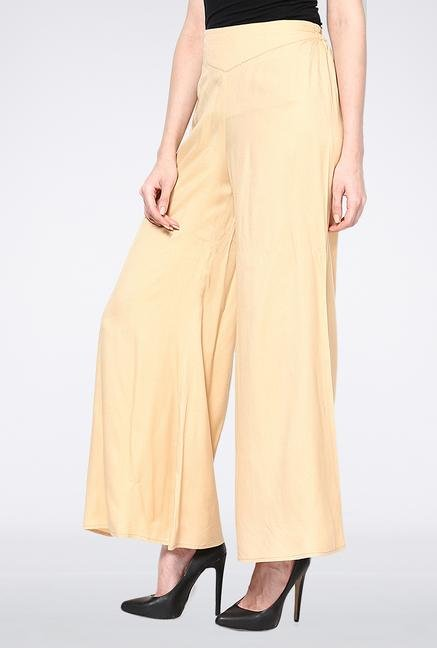Femella Peach Palazzo Pant With Elasticated Waist