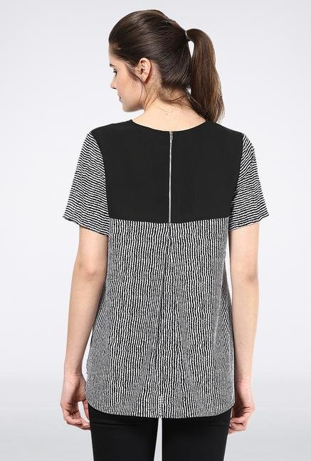 Femella Black & White Back Zipper Top