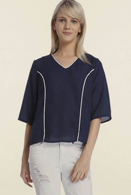 Vero Moda Navy Blue Iris Solid Top