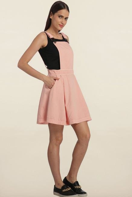 Vero Moda Pink Dungaree Dress