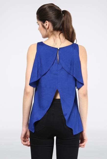 Femella Royal Blue Front Ruffle Top