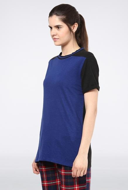 Femella Blue & Black Collar Slub Top