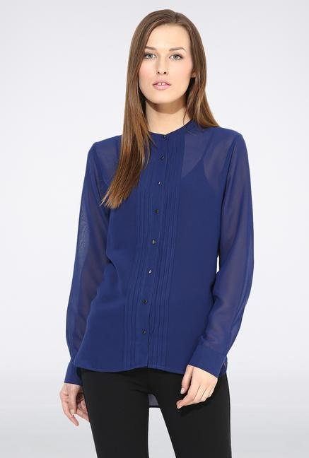 Femella Navy Blue Pleated Casual Shirt