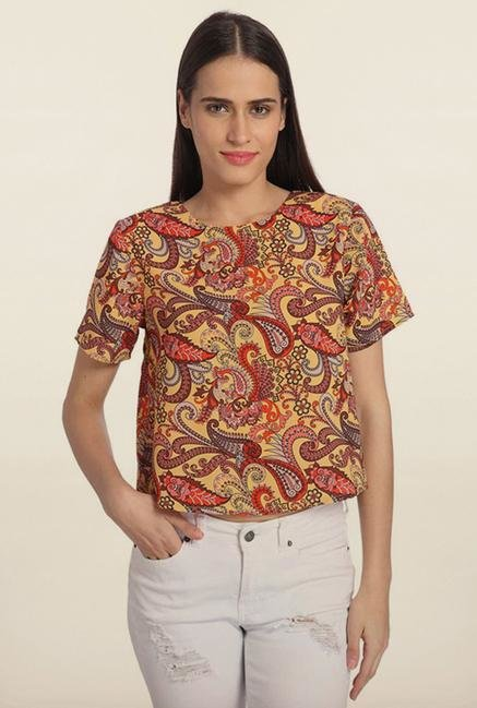 Vero Moda Yellow & Red Printed Top