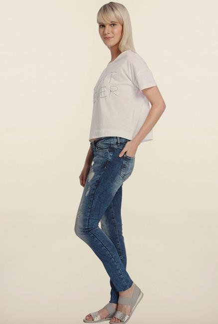 Vero Moda Blue Denim Distressed Jeans