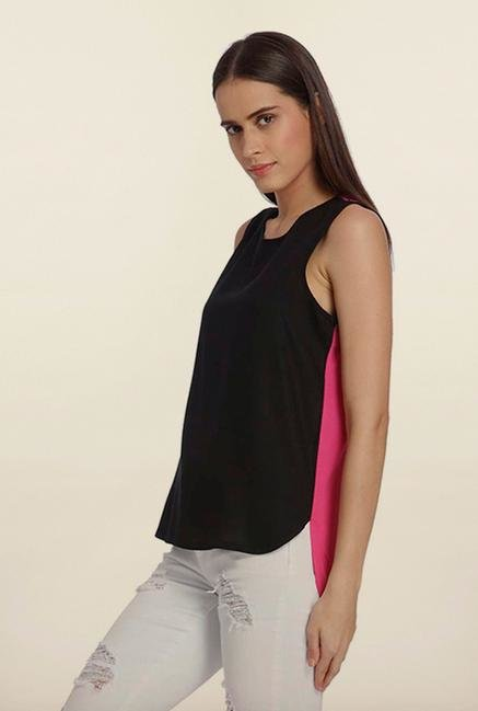 Vero Moda Black & Pink High-Low Top