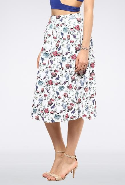 Femella White High Waisted Circular Midi Skirt