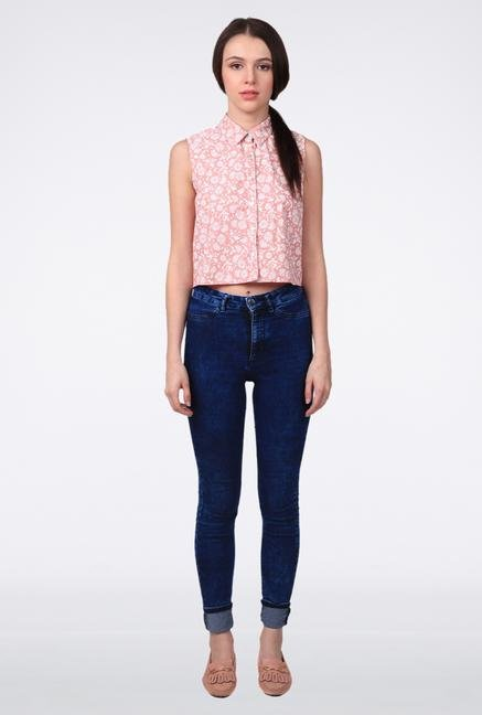 Femella Peach Chambray Crop Shirt