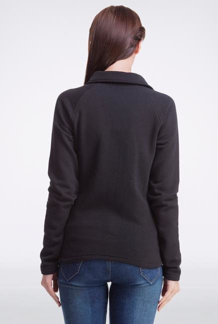 Femella Black High Neck Sweatshirt