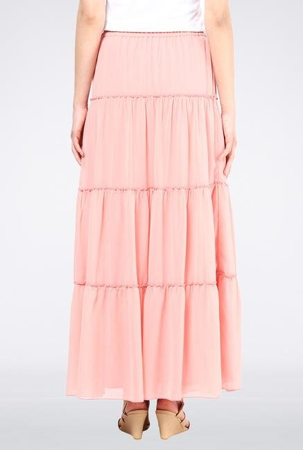 Femella Rose Pink Tier Maxi Skirt