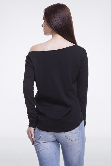 Femella Black Off Shoulder Pullover