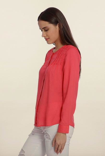 Vero Moda Rouge Red Solid Casual Shirt