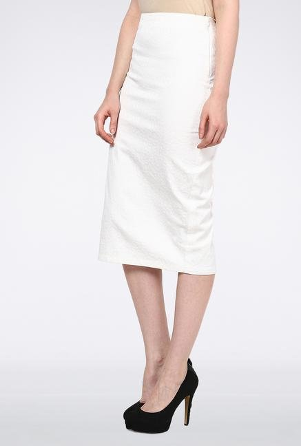 Femella White Jacquard Pencil Skirt