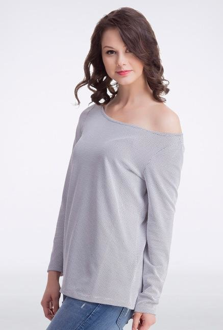 Femella Grey Off Shoulder Pullover