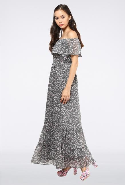 Femella Grey Off Shoulder Ruffle Maxi Dress