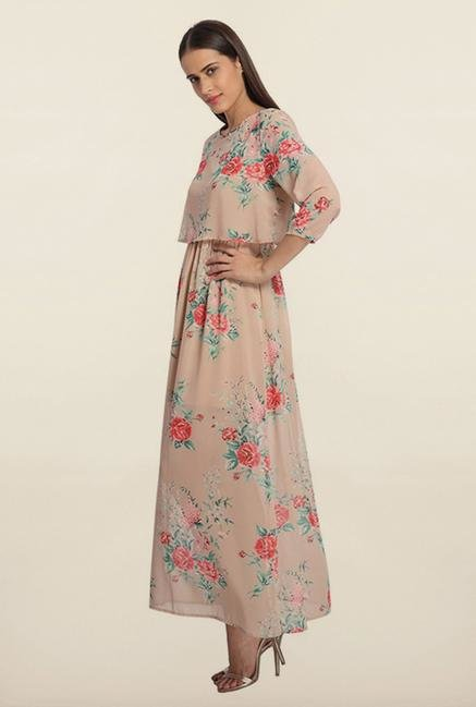 Vero Moda Beige Floral Maxi Dress