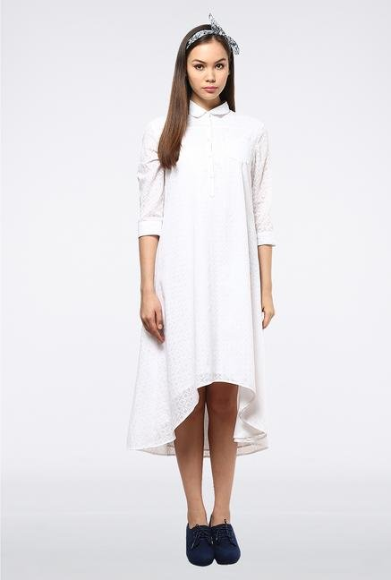 Femella White High Low Shirt Dress