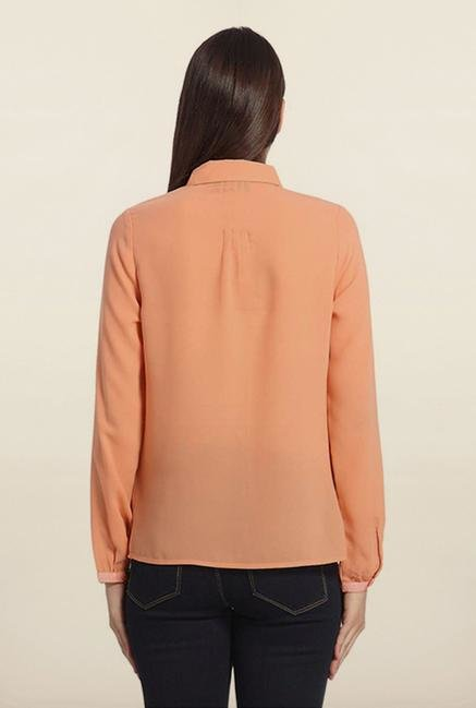 Vero Moda Peach Solid Casual Shirt