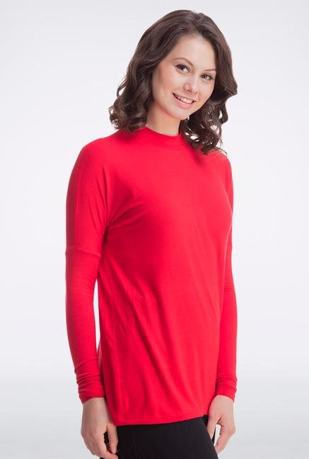 Femella Red High Neck Top